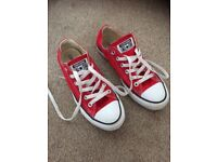 Red Converse shoes size 5 Excellent condition worn once