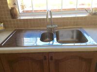 Sink, kitchen, stainless steel, overmounted