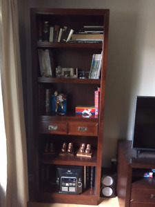 7 foot bookcase with matching TV stand