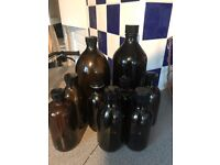 mixed collection of amber brown bottles