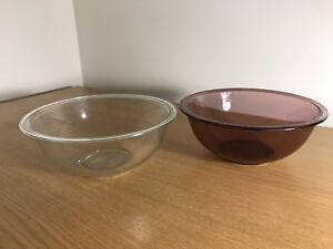 Two glass mixing bowls