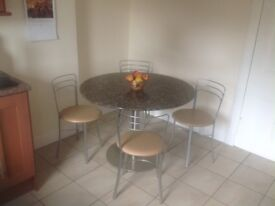 Granite Kitchen Table 110 cms in diameter , plus 4 chairs