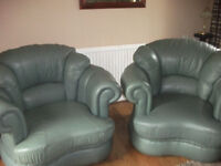 leather suite in sage green good quality 3seater sofa and two chairs