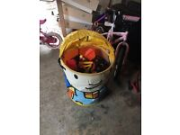 A bob the builder toy box full of bob the builder toys