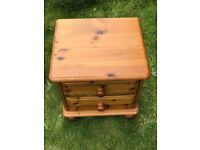 small bedside chest of drawers - 2 drawer pine wood, 2 in set or sold individually