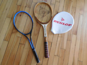 NEW tennis racket and Dunlop wooden vintage racket