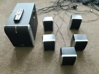 TV SURROUND SPEAKERS/ HOME CINEMA (WITH REMOTE & CABLES)
