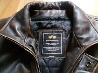ALPHA INDUSTRIES LEATHER JACKET 42""