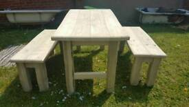 Hand made solid pine, dining table and benches