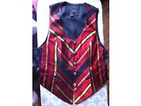 stunning waistcoat in scarlet-gold-black chevrons