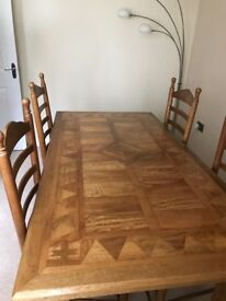 Real fruit wood table and 4 chairs