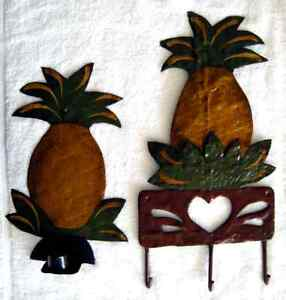 Painted Tinware Hanger and Candle Holder
