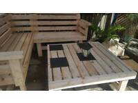New 6ft x 6ft garden / patio bench with table