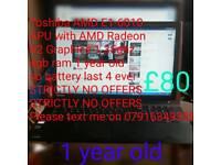 Toshiba AMD E1-6010 APU with AMD Radeon