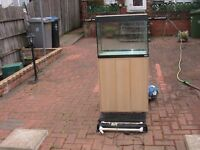used Fluval Roma 90L glass fish tank aquarium with 2 lights in lid cabinet kot wembley