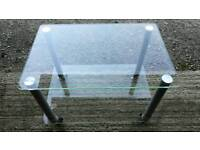 Glass table on wheels