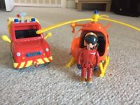 Fireman Sam car, helicoter and 1 character