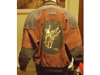 """VINTAGE RED SUEDE BOMBER JACKET with EMBROIDERED """"BULL RIDER"""" PANEL"""