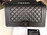 Authentic Chanel LE BoY 2017 so black Caviar S with receipt.