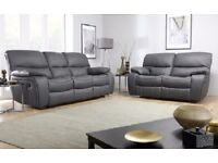 BRAND NEW ITALIAN LEATHER RECLINER 3+2 SOFA BLACK/BROWN or grey + DELIVERY