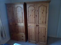 Pair of matching solid pine wardrobes
