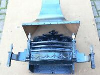 Used Cast Iron Decorative Fire Grate and Heavy Duty Canopy