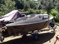 15' cabin boat, extending trailer, 25hp Mariner engine, seagull engine. GWO. Complete package.
