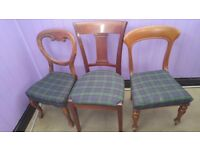 12 Classic Vintage Queen Anne Chairs Beautiful (2 + 8 + 2) with tartan fabric
