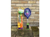 Children's outdoor croquet set and badminton set