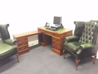 Mahogany Corner Desk with Green Leather Top