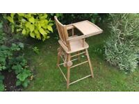 Old Rustic Vintage Foldable High Chair in Very Good Condition with Wheels
