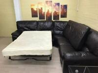 Large Brown Leather Corner Sofa Bed