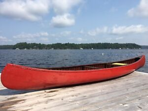 15 1/2 foot red cedar strip canoe for sale