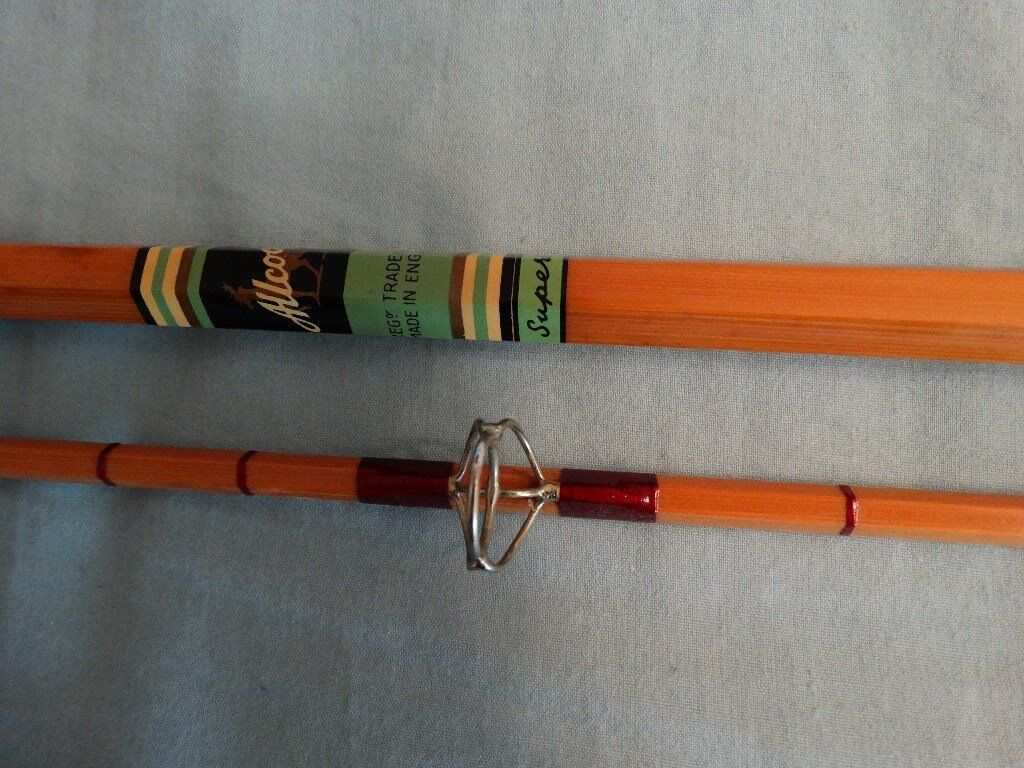 Allcocks superb 10ft split cane carp rod in excellent for Vintage fishing rod identification