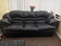 Leather 3 Seater Sofa and Reclining Chair