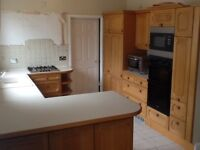 SOLID Wood kitchen cabinets, units, breakfast bar, worktop and intergrated storage