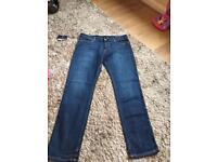 Mens Blue Slim Fit 34W 32L Armani Jeans