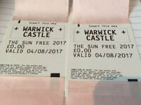 Warwick Castle SunTickets x 2 for Friday 04/08/17 only (Adult or Child)