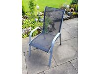 4x Garden Chairs - Silver metal frames with blue mesh seats (stackable)