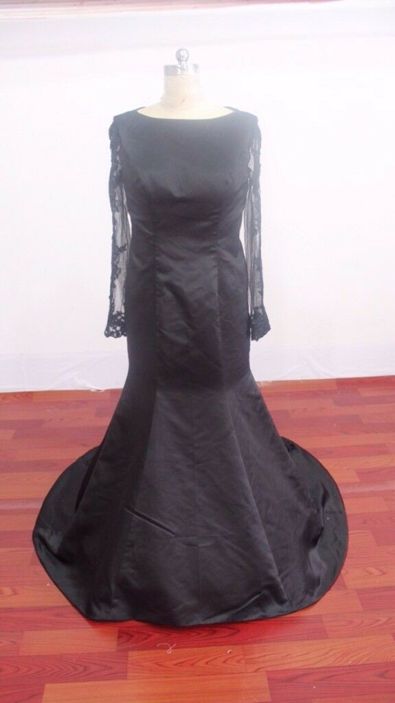 Black ladies evening wear custom floor length dress with lace detailing fits size 10/12 unworn