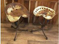 Antique French tractor stools