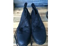 Gents black designer All Saints soft leather boots size 9