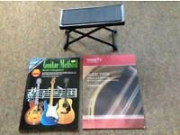 Guitar foot stool and 2 beginners books