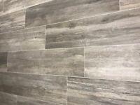 BRAND NEW** Italian wood look porcelain floor tiles in Grey.