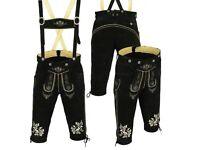 """New Men's Genuine Leather Bavarian Lederhosen Oktoberfest Size 30""""-42"""""""