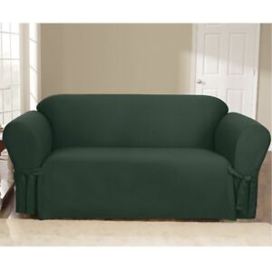Sure Fit Canvas Sofa Slipcover-Hunter Green, New