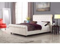 Double king size crush velvet sleigh bed** free delivery **