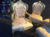 Gorgeous French style gold chair with arms