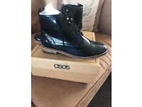 ASOS black patent boots