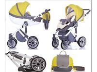 Yellow- Silver pram&puschair